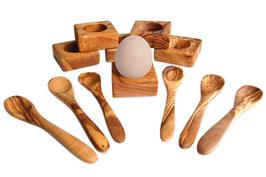 6er Set Eierhalter Troué inkl. Eierlöffel aus Olivenholz