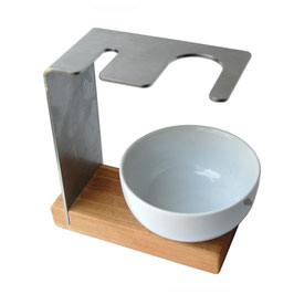 Rasierständer/-halter SYLT für Pinsel & Rasierhobel inkl. Porzellantiegel