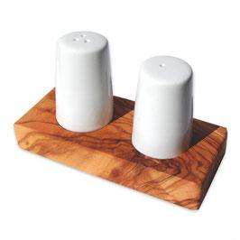 Set Salz- und Pfefferstreuer ALBERT auf Olivenholz-Tablett