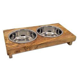 Futterstation LUCKY (2 x 0,2 l Metallschale) für kleine Hunde & Katzen
