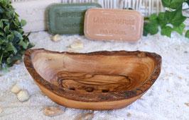 Seifenschale RUSTIKAL mittel (L12-14cm) mit Rille auf der Unterseite