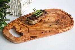 Steakbrett rustikal mit Grifflasche und Saftrille, Länge 40-44 cm
