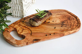 Steakbrett RUSTIKAL mit Grifflasche und Saftrille (L40-44 cm)
