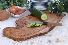 Steakbrett rustikal ohne Grifflasche mit Saftrille, Länge 50-55 cm