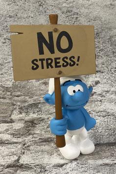 """Schlumpf mit Schild """"No Stress"""""""
