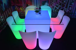 Table de bar carrée LED - RGB