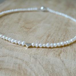 Perlenkette mit 925 Silber-Herz