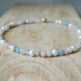 Perlenkette mit beigem und blauem Achat