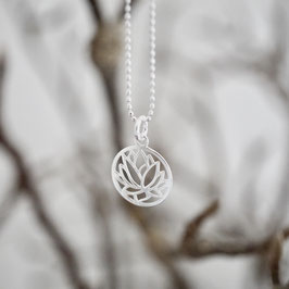 Kette mit Lotusmedaillon 925 Silber