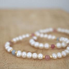 Perlenarmband mit Achat in pastell und gold -Grit-
