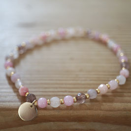 buntes Achatarmband rosa-pastell mit coin