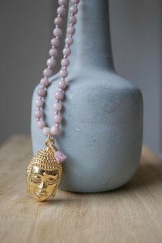 Flieder Achatkette mit Buddha