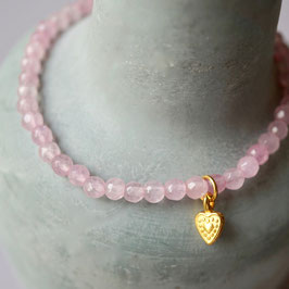 rosa Achatarmband mit Herz
