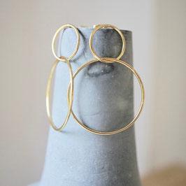 Doppelkreise Ohrhänger 925 Silber, vergoldet