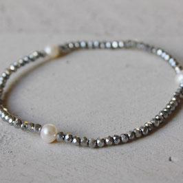 silber Glitzer mit Perlen