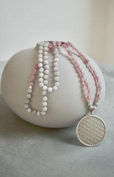 rosa/graue Achatkette mit Blume des Lebens