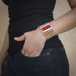Bracelet manchette UNO rouge vermeil