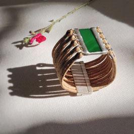 Bracelet manchette UNO vert émeraude