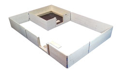 Set Wurfkiste 120x120 mit Auslauf