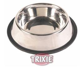Antirutsch- Napf von Trixie aus Edelstahl mit rutschsicherem Gummirand
