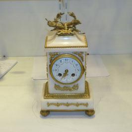 Pendule bronze et marbre blanc