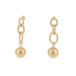 Boucles d'oreilles à puce pendantes en grosse maille avec une boule dorée