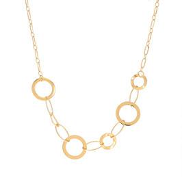 Collier doré sur chaîne avec fermoir mousqueton et chaînette réglable en maille avec ronds