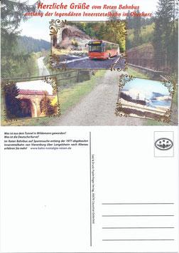 """Postkarte/Ansichtskarte """"Herzliche Grüße vom Roten Bahnbus entlang der Innerstetalbahn"""""""