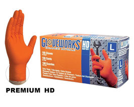 Heavy Duty, Powder Free, Orange Nitrile Gloves
