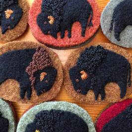 Sheep and Buffalo Pin Brooches