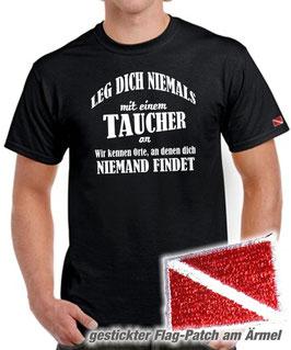 T-Shirt LEG DICH NIEMALS MIT EINEM TAUCHER AN + gestickte Tauchflagge am linken Ärmel