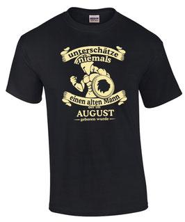 T-Shirt Sternzeichen Löwe UNTERSCHÄTZE NIEMALS EINEN ALTEN MANN GEBOREN IM AUGUST
