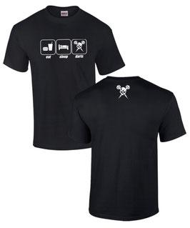 T-Shirt EAT SLEEP DARTS Darter Darten Dartspieler VORNE UND HINTEN bedruckt