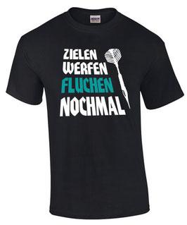 T-Shirt ZIELEN WERFEN FLUCHEN NOCHMAL Darten Darter Dartshirt