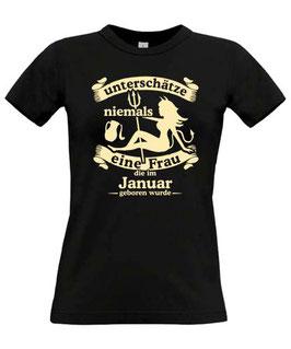Girl T-Shirt Sternzeichen WASSERMANN UNTERSCHÄTZE NIEMALS EINE FRAU GEBOREN IM JANUAR