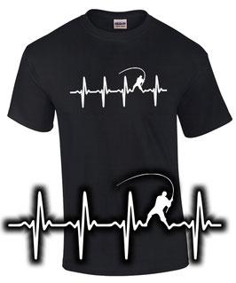 T-Shirt MEIN HERZ SCHLÄGT FÜRS ANGELN Herzschlag Puls I love