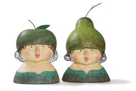 """2er Set Aufsteller Ladykopf """"Apfel & Birne"""" Frauen Skulptur Baden Import"""