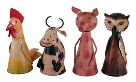 ZaunHocker Hahn,Kuh,Schwein,Eule