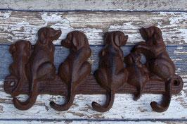 Gusseiserner 4er Wandhakenleiste Schlüsselbrett Hundemotiv
