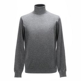 Hochwertiger Rollkragen-Pullover aus Merinowolle, hellgrau