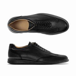 Sportliche Lederschuhe, schwarz