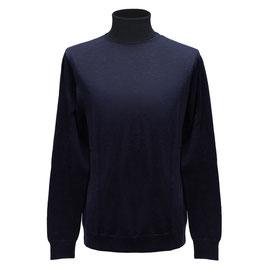 Hochwertiger Rollkragen-Pullover aus Merinowolle, marine
