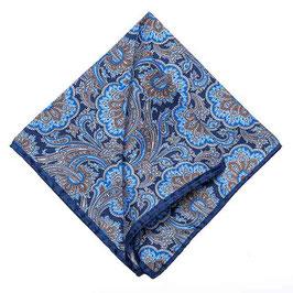 Rolliertes Paisley Seiden Einstecktuch, blau/blau