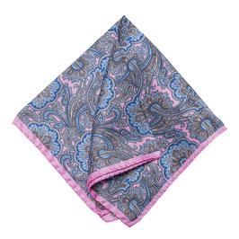 Rolliertes Paisley Seiden Einstecktuch, blau/rosa