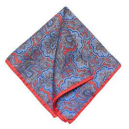 Rolliertes Paisley Seiden Einstecktuch, blau/rot