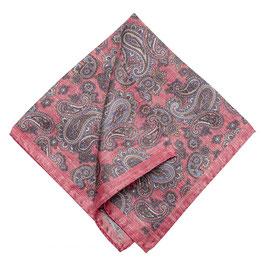 Rolliertes Paisley Seiden Einstecktuch, rosa