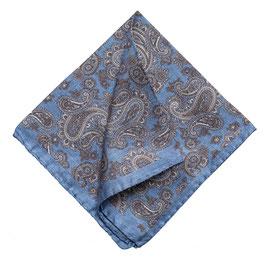 Rolliertes Paisley Seiden Einstecktuch, blau