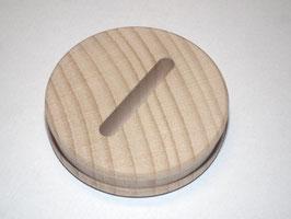 Sparstrumpfscheibe aus Buche mit Schlitz Holzscheibe 5,8 cm Durchmesser