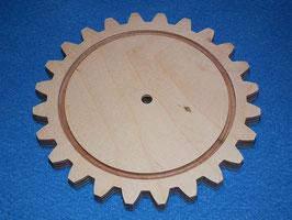 Holzzahnrad aus 9mm Birkensperrholz mit 24 Zähne