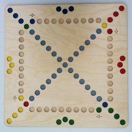 Spielbrett Quer durch 4 ein Rausschmeisserspiel für 4 Spieler aus Holz